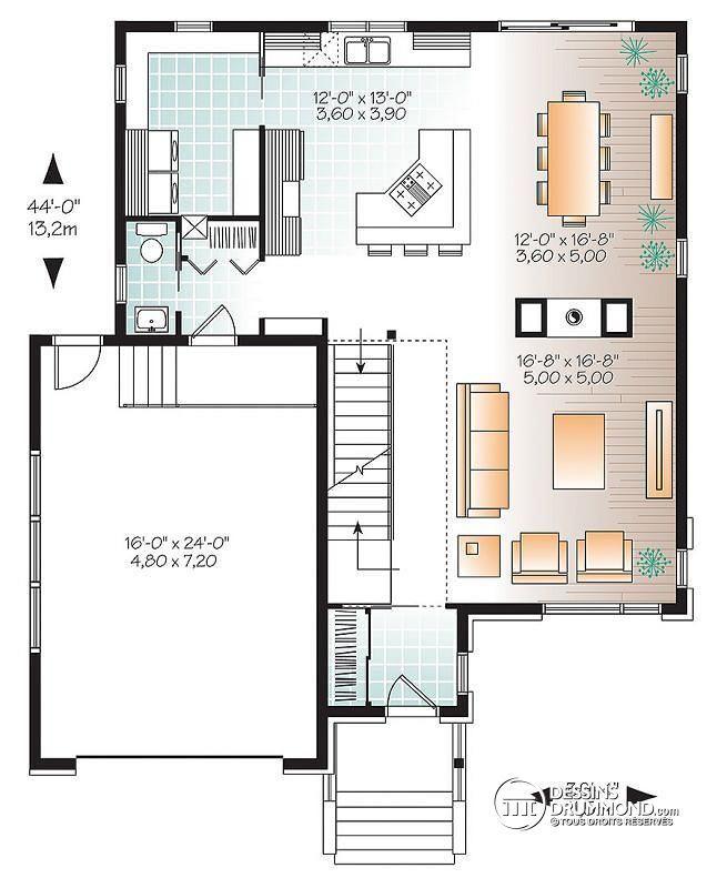 Plan de Rez-de-chaussée Maison contemporaine moderne, 4 chambres