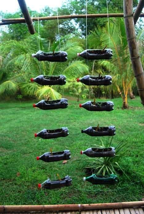 Recycled plastic bottle hanging planters recycling - Plastic bottles for gardening ...