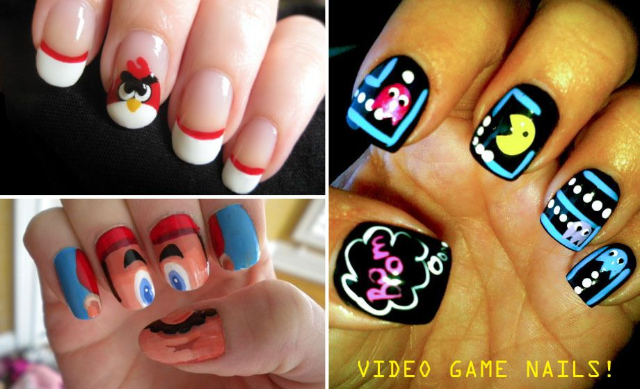 Video Game Nail Art Angry Birds Pac Man Mario Anxietyville