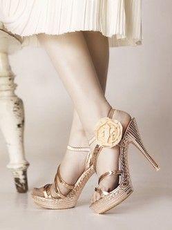 Heel Height  Platform Champagne PU Flower Decoration Ankle Strap Sandals