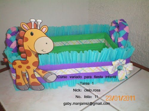 Caja de carton decorada para baby shower buscar con for Cajas de carton decoradas para regalos