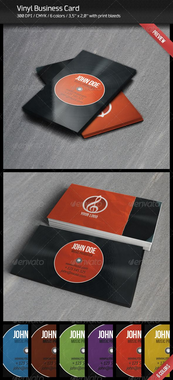 Vinyl Business Card #GraphicRiver Vinyl Business Card with 2 views ...