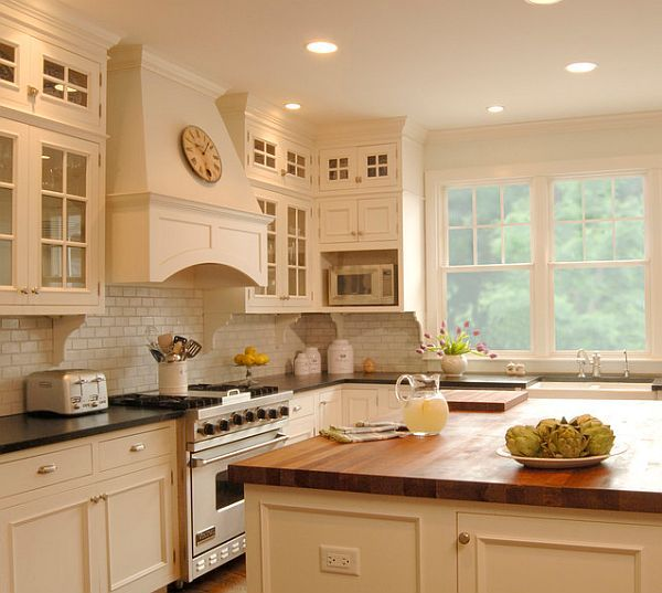 kitchen design with off white glass front cabinets subway tiles backsplash soapstone countertops island butcher block also pros and cons in using laminate cherry