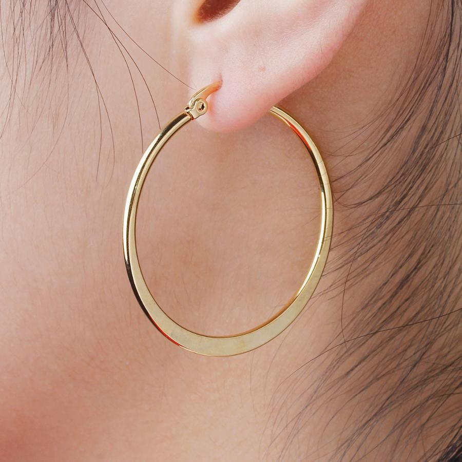 Piercing ideas for females  Kaiz Circle Shape Thick Gold Large Hoop Earrings  accsories