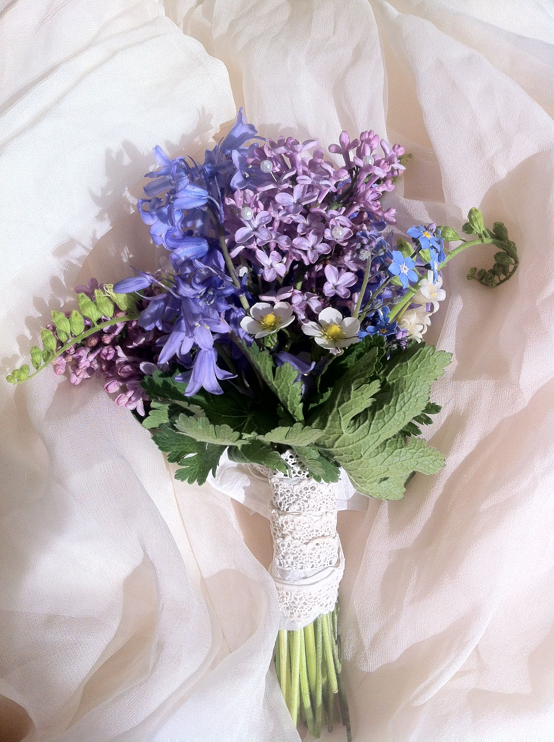 Wedding dresses with purple accents  Wild flower posy with vintage lace and tiny pearl accents  Flores