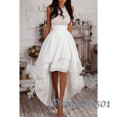 High low prom dress, cute white lace chiffon prom dress for teens ...