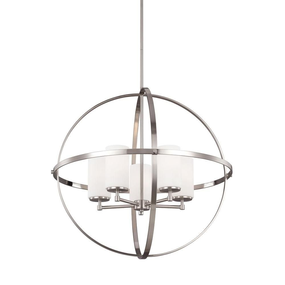 Sea Gull Lighting Alturas 5-Light Brushed Nickel Single Tier ...