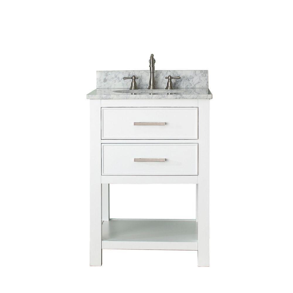 Avanity Brooks 25 In W X 22 In D X 35 In H Vanity In Chilled Gray With Marble Vanity Top In Vanity Combos White Vanity Bathroom Traditional Bathroom Vanity
