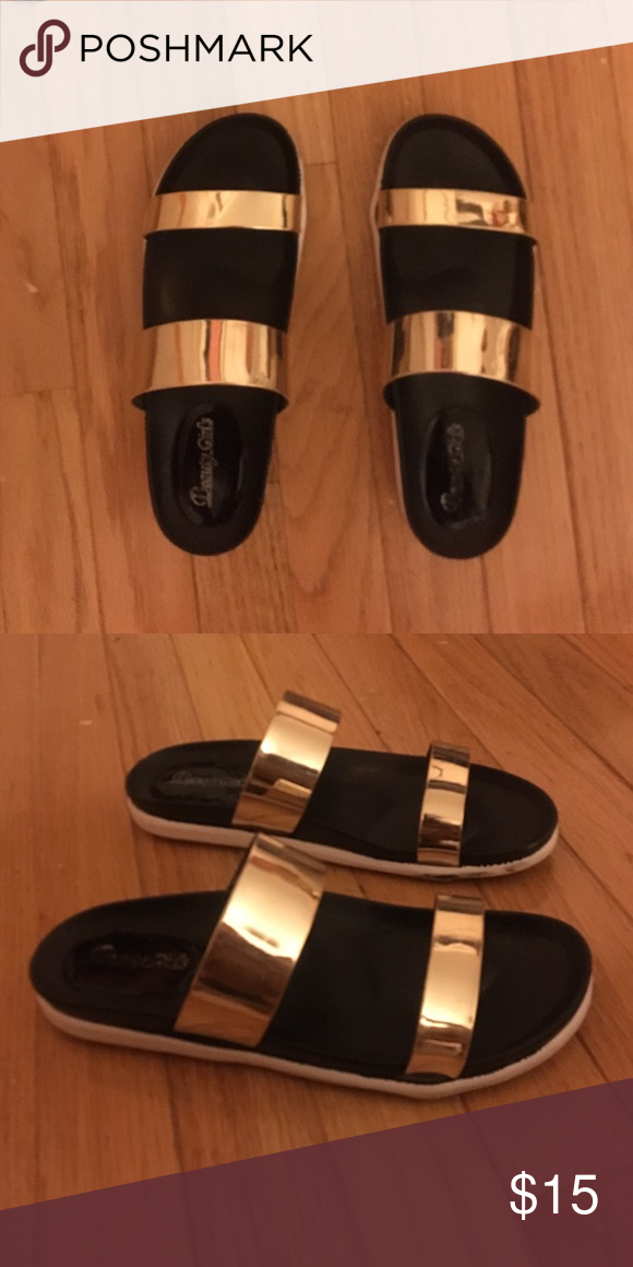 Gold two strap sandal Only worn once. Metallic gold straps very comfortable sandals with small white platform Shoes Sandals