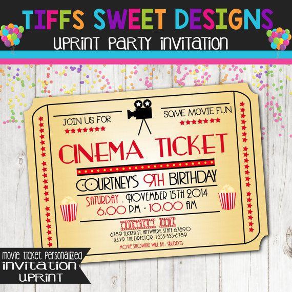 movie night invitation movie ticket invitation cinema birthday