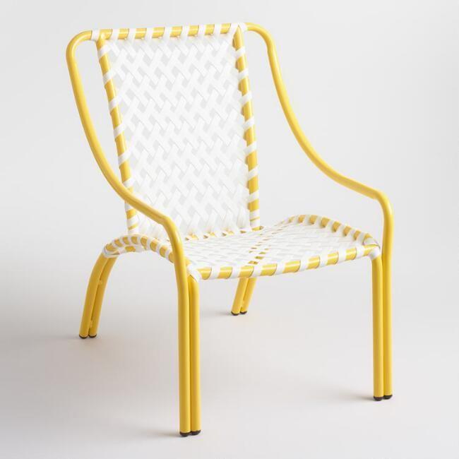 Lemon Yellow All Weather Wicker Kellan Chairs Set of 2 - v1