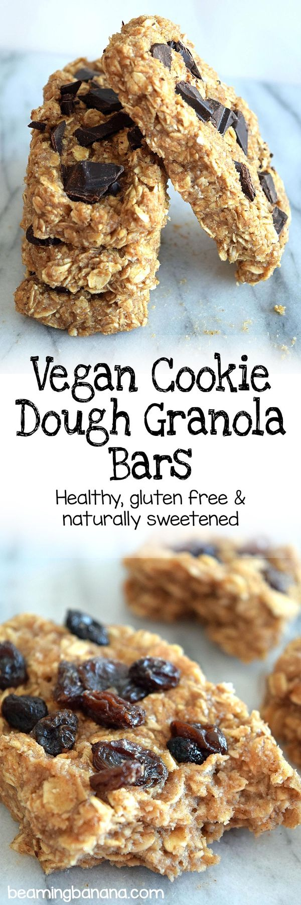 Vegan cookie dough granola bars are chewy, rich, and loaded with chocolate or raisins! Such a wonderful sweet snack, breakfast, or dessert. This recipe is gluten free and sweetened naturally!