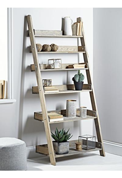 Rustic Wooden Ladder Shelf Wide Furniture