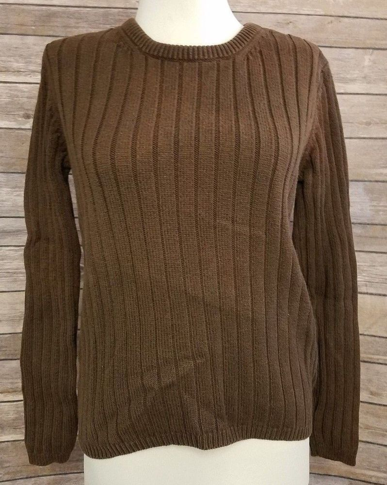 a2fcfd00f Eddie Bauer Women s Sweater size S small brown ribbed pullover long ...