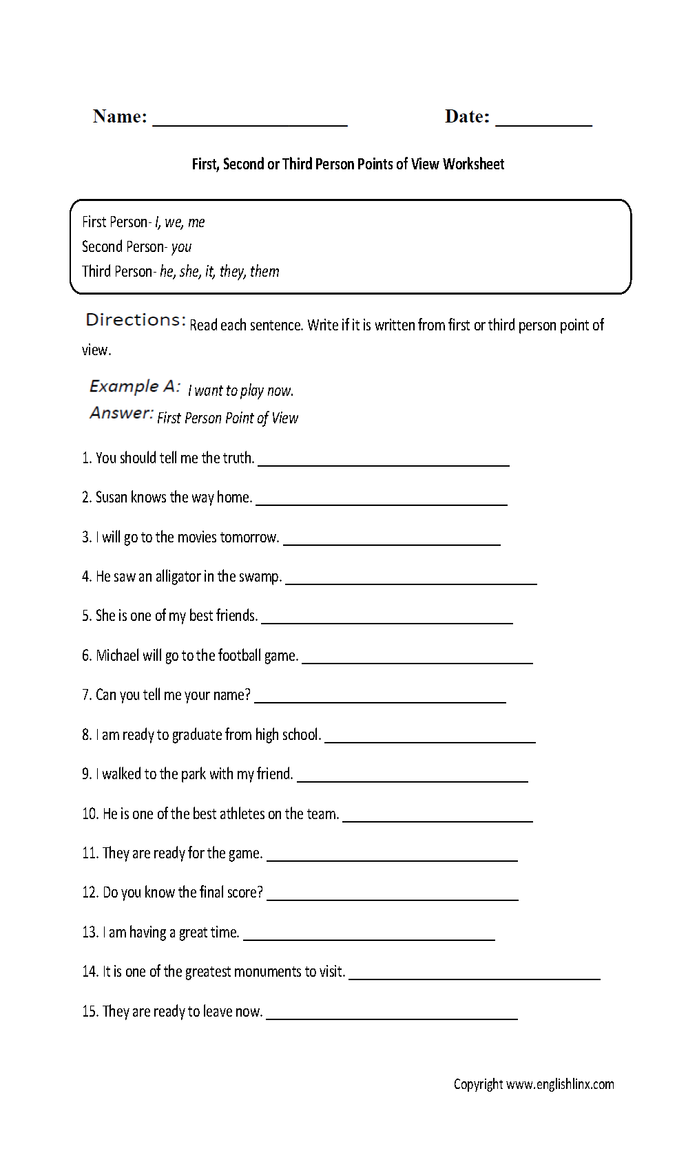 First, Second and Third Person Point of View Worksheet | Englishlinx ...