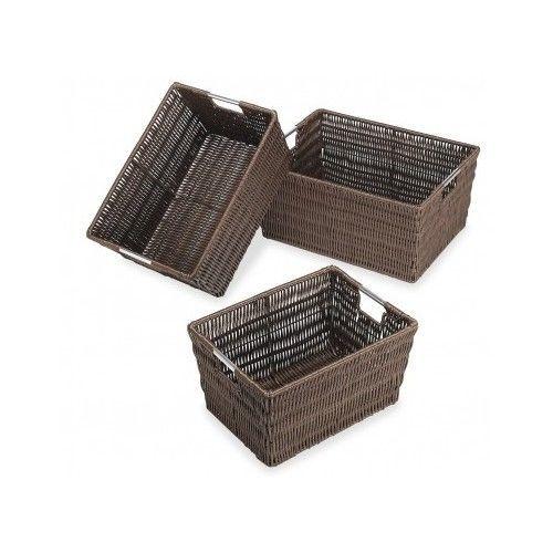 office storage baskets. Storage Baskets Set Woven Plastic Home Closet Office Bin Box Organizer Container\u2026 B
