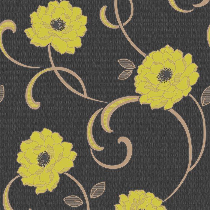Fine Decor Florentina Wallpaper Black/Lime ~ $12.69 per roll at ilovewallpaper.co.uk