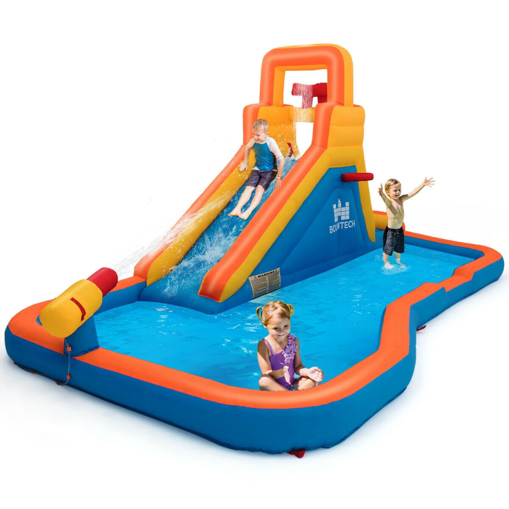 Inflatable Water Bouncer With Climbing Wall And Ball Hoop In 2020 Inflatable Water Slide Inflatable Water Park Kids Bouncy Castle