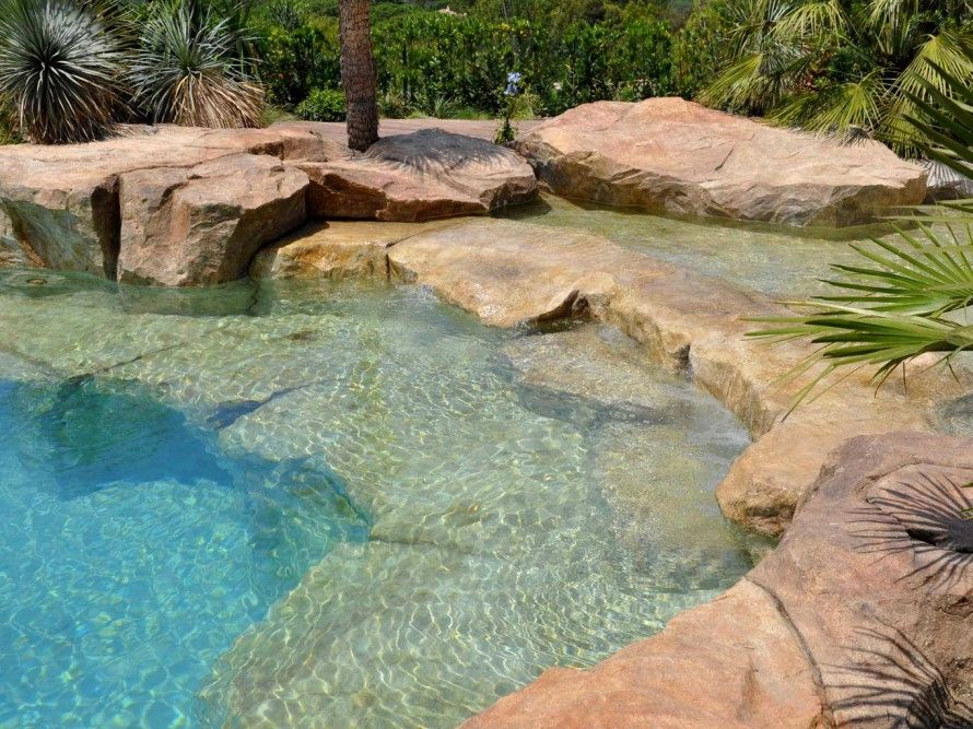 Back to nature with natural swimming pools waterworld for Natural rock swimming pools