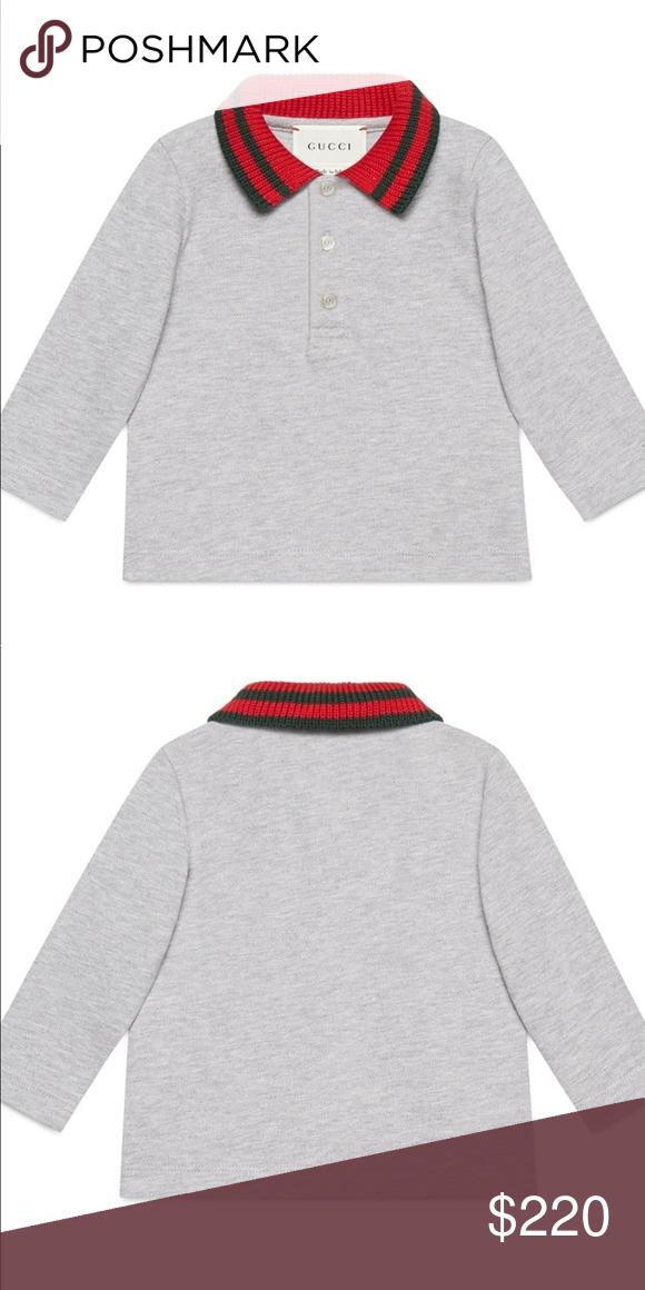 a40b970f Gucci boys stripe collar long sleeve polo 9-12mon Gucci's signature stripes  color the knit