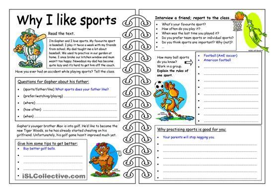 four skills worksheet why i like sports sports comprehension worksheets reading. Black Bedroom Furniture Sets. Home Design Ideas