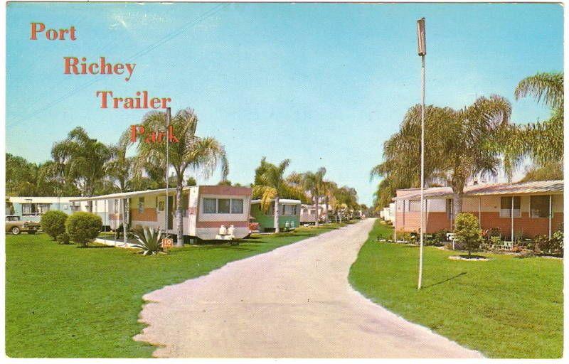 PORT RICHIE TRAILER PARK Florida 1950s Travel MOBILE HOME Photo Postcard