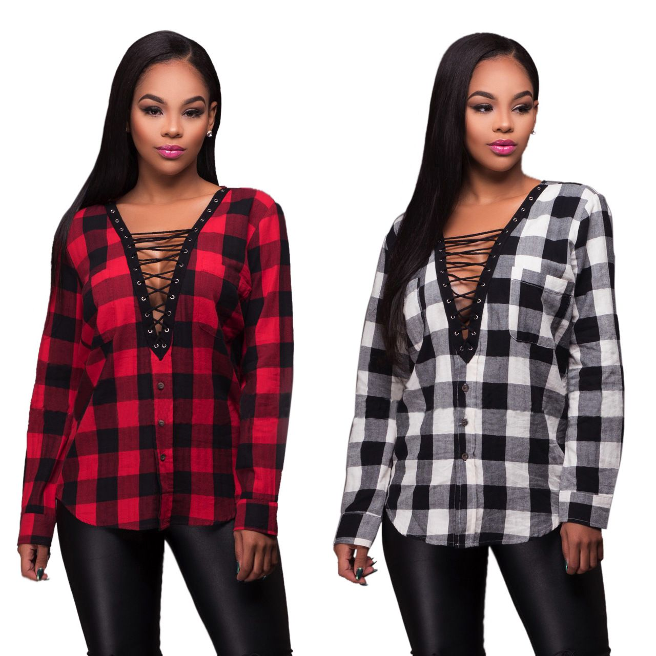 Red flannel around waist  Adogirl Lace Up V Neck Blouse New Fashion Women WhiteRed Long