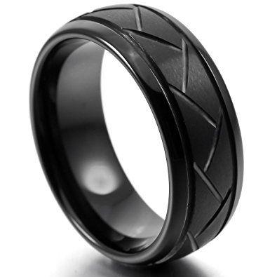 Munkimix 8mm Wolframcarbid Wolfram Band Ring Schwarz Bequeme