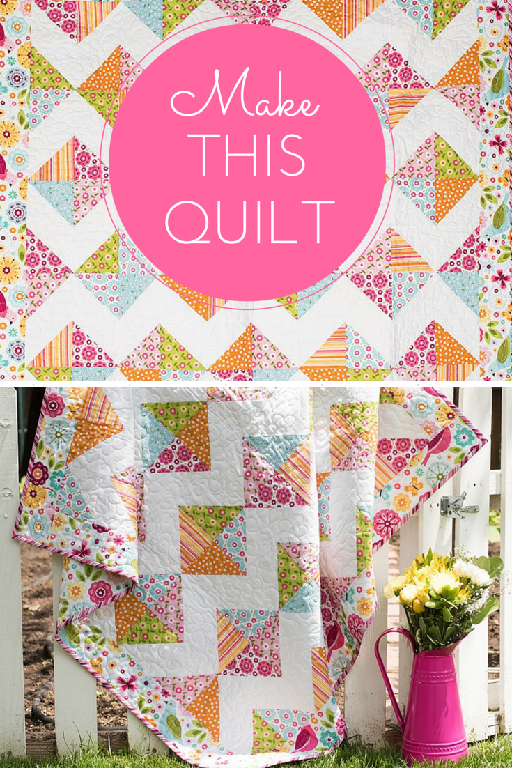 """This cute quilt will get almost as much use as their favorite toy! Your Riley Blake Tori's Toy Box Quilt Kit includes a pattern and fabric from the Summer Song 2 collection. Featuring an easy, HST-filled design and vivid color palette, this 46"""" x 46"""" quilt will make a darling addition to a nursery or playroom."""