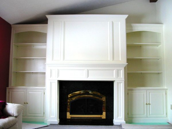 Built In Bookcases Around Fireplace Maple Painted