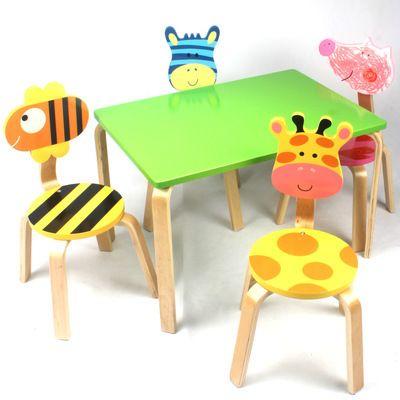Los ni os juegos de muebles de madera maciza mesa y sillas de ni os conjunto una mesa con cuatro - Mesas madera ninos ...