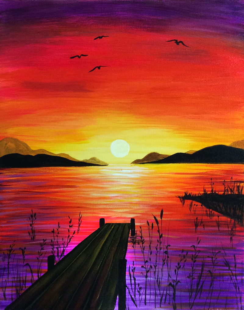 Lakeside Sunset ' Paint Party Painting Watercolor Art