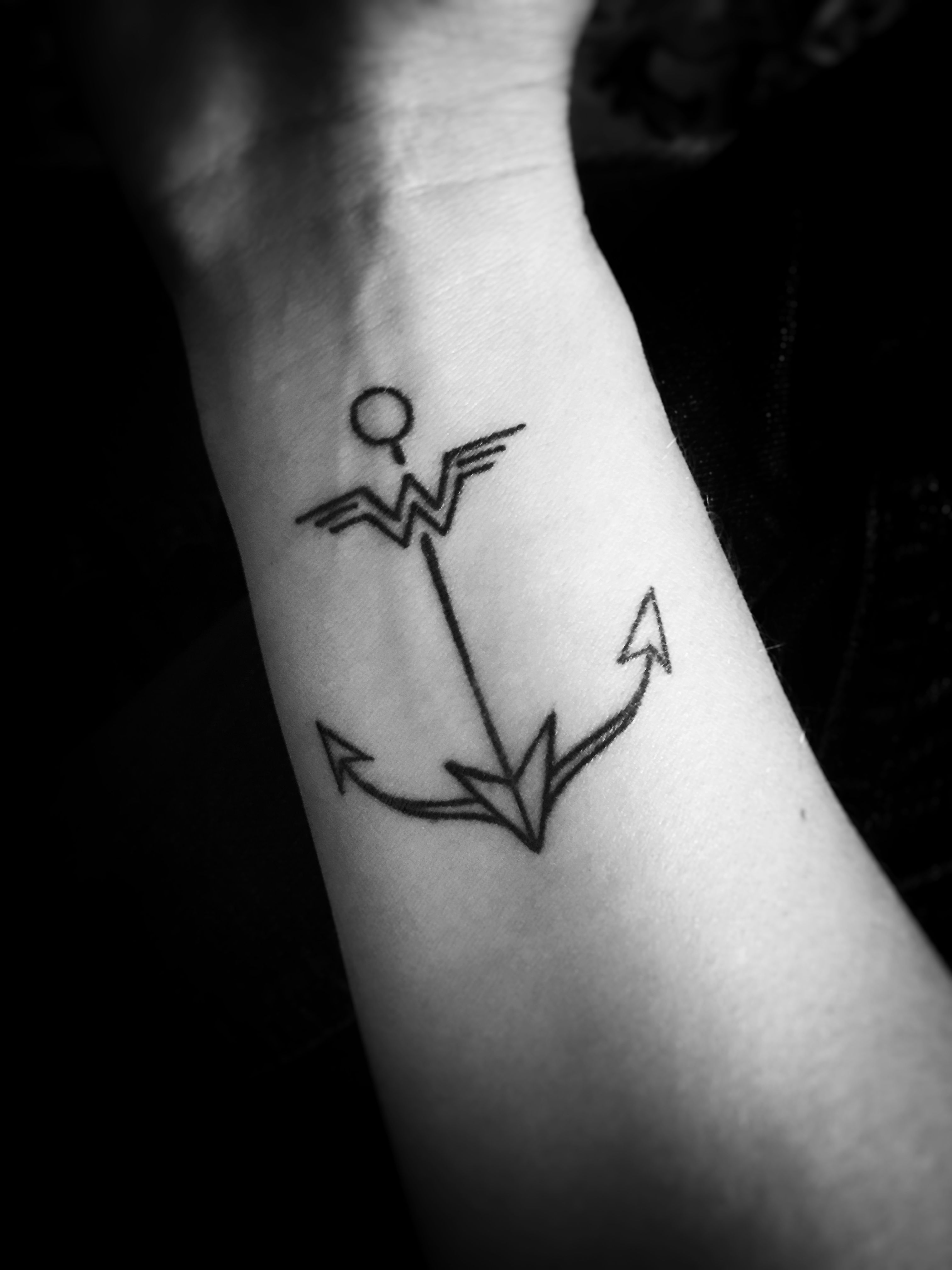 My first tattoo: --The anchor represents Hebrews 6:19, the scripture I meditate on most during my bouts with anxiety/depression. --The arrow down the middle represents the people in my life who propel me forward. --The Wonder Woman symbol is the feather in the arrow and the top bar of the anchor...just because I love Wonder Woman!  Tattoo design by Russell Corbett at Hybrid Tattoo in Penn Hills, PA