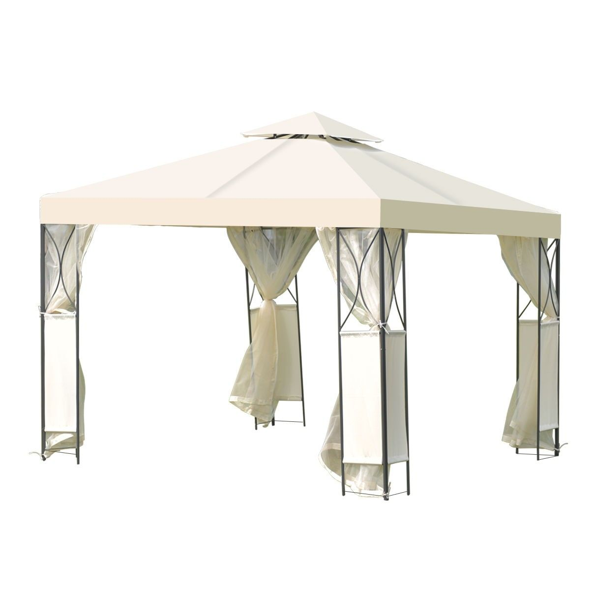 2 Tier 10 X 10 Patio Steel Gazebo Canopy Shelter Gazebo Canopy Steel Gazebo Gazebo