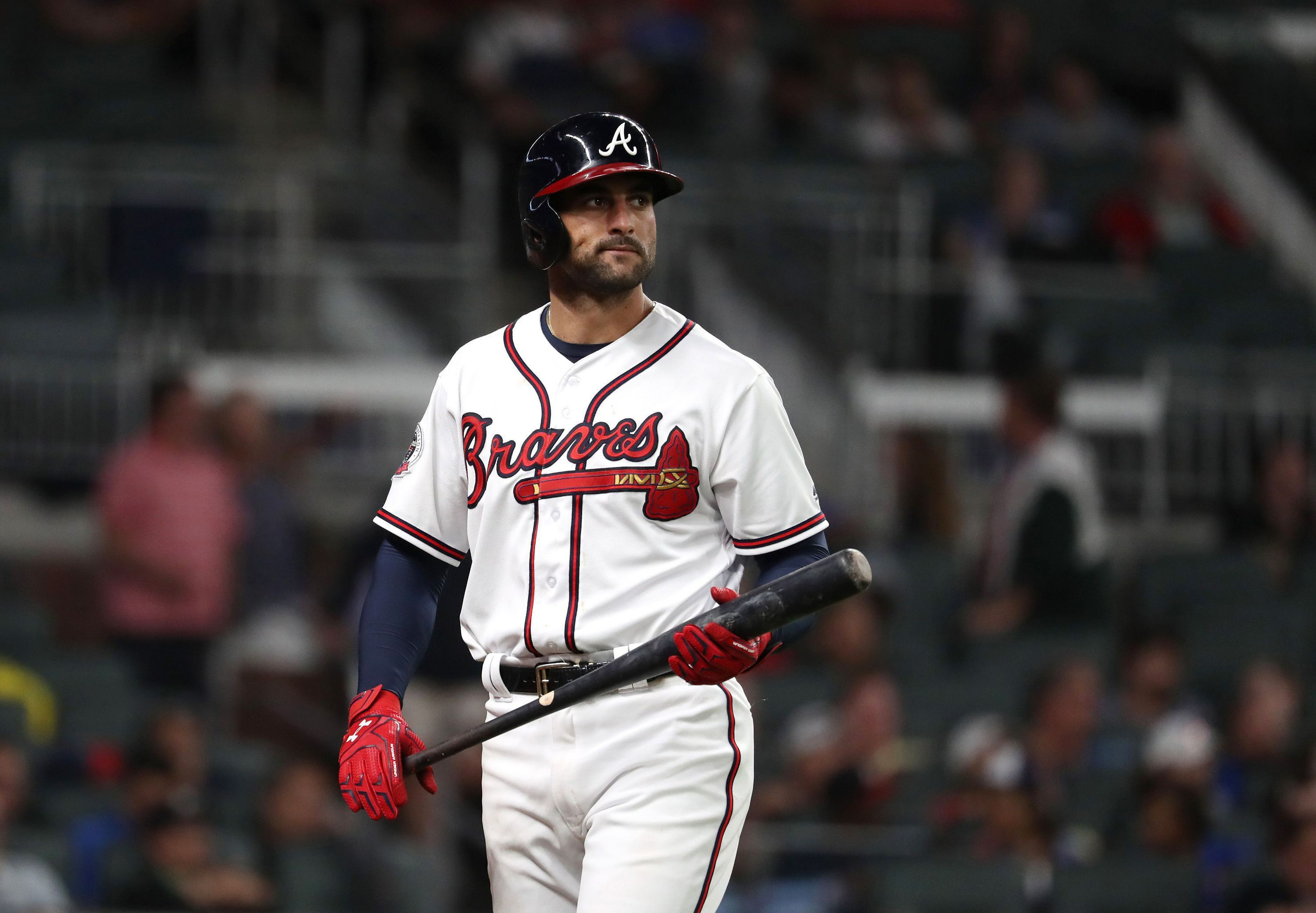 Jun 5 2017 Atlanta Ga Usa Atlanta Braves Right Fielder Nick Markakis 22 Reacts After Lining Out Atlanta Braves Atlanta Braves Wallpaper Usa Today Sports
