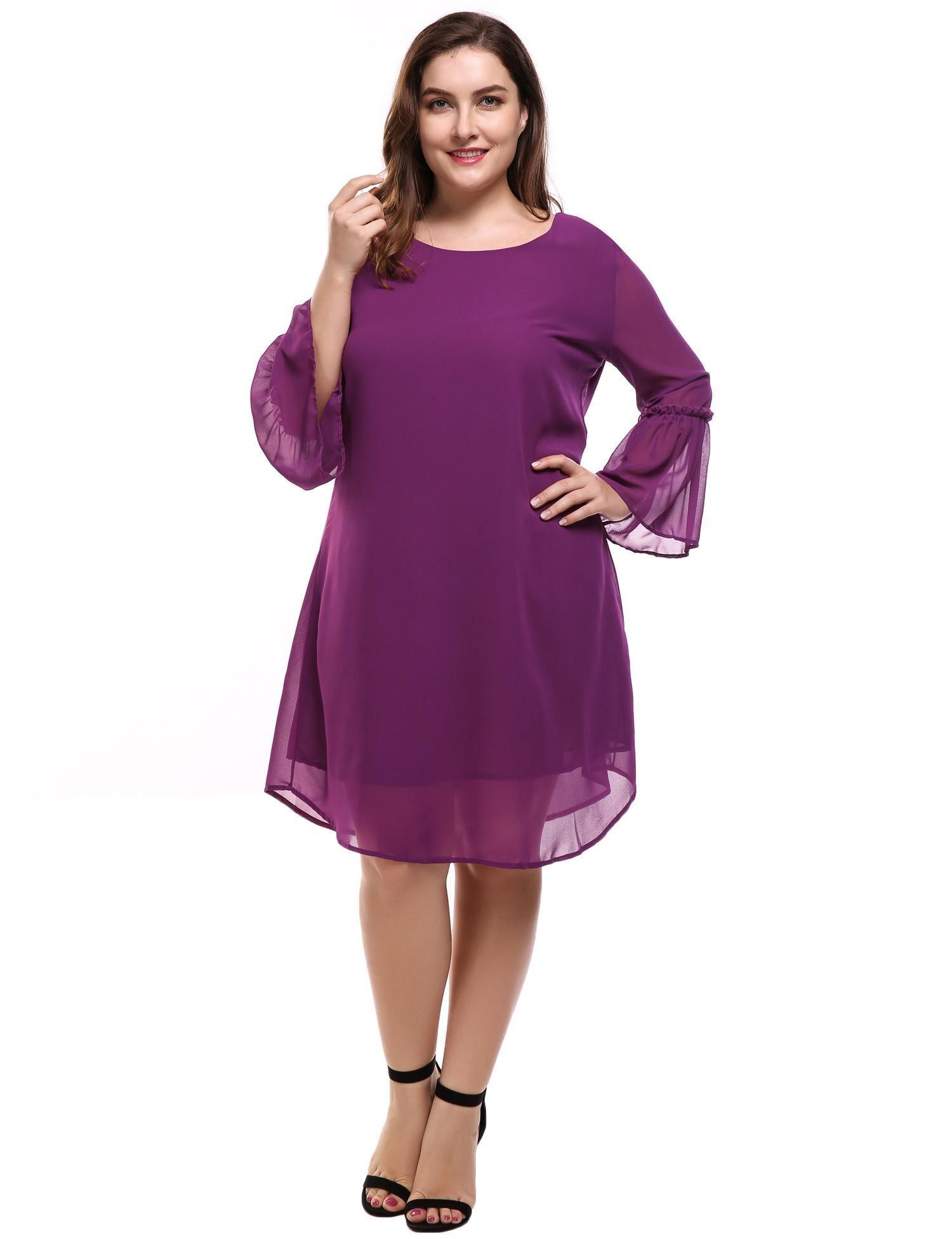 Plus Size Women\'s Flare Sleeve Casual Loose Chiffon A-Line Dress CYBST