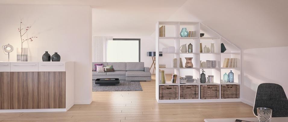 Raumteiler Für Dachschrä weißes regal als raumteiler unter deiner dachschräge im wohnzimmer