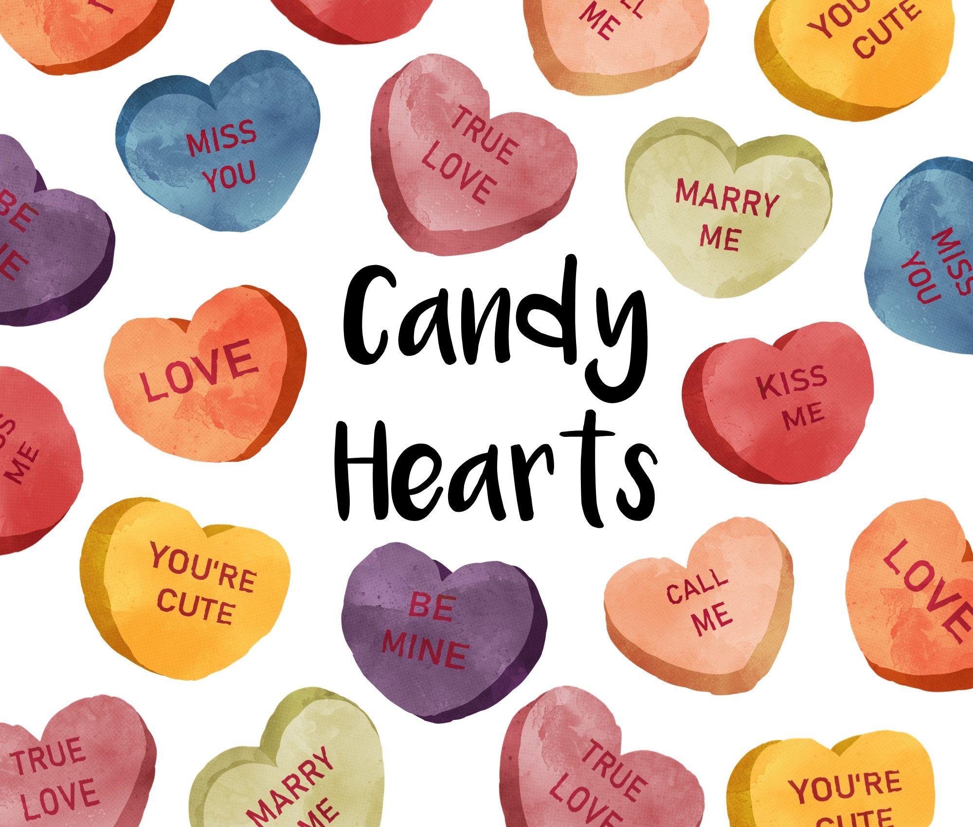 Candy Hearts Watercolor Clipart Valentine Clip Art Heart Etsy Valentines Clip Valentine Clipart Clip Art