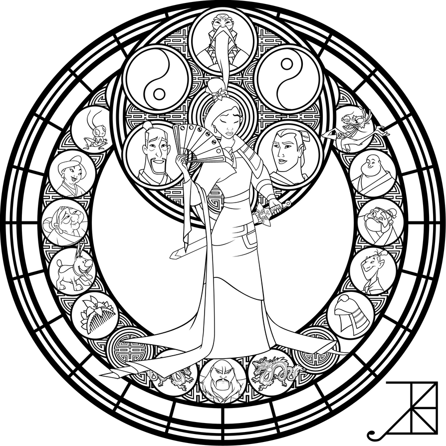 Sg Mulan Vector Lineart By Akili Amethyst On Deviantart Disney Stained Glass Disney Coloring Pages Mandala Coloring Pages [ 894 x 894 Pixel ]