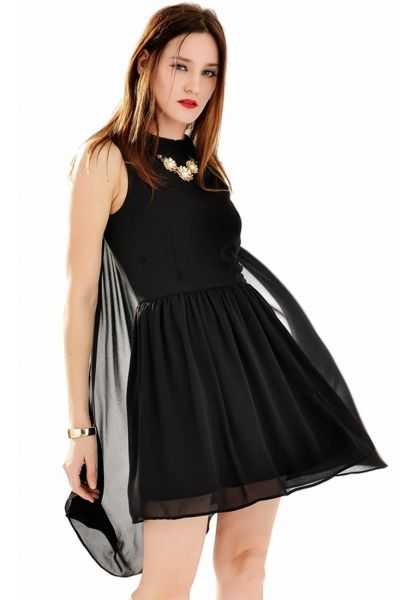 69fcb460564 Gorgeous Peter Pan Collar Mini Dress with Mantle - OASAP.com