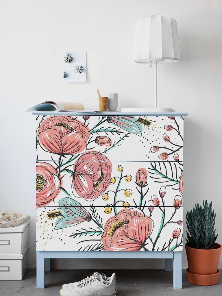 Malm Kommode Ikea Vintage Garten Aufkleber Pack 3 Blumen