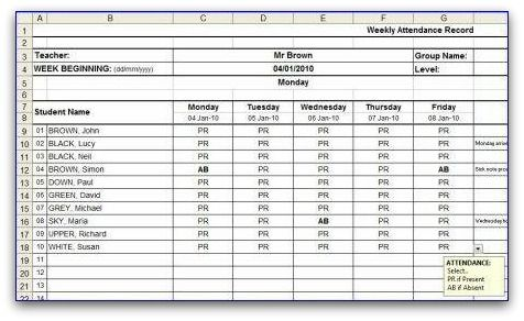 Weekly Attendance Sheet Template in MS Excel format Absent