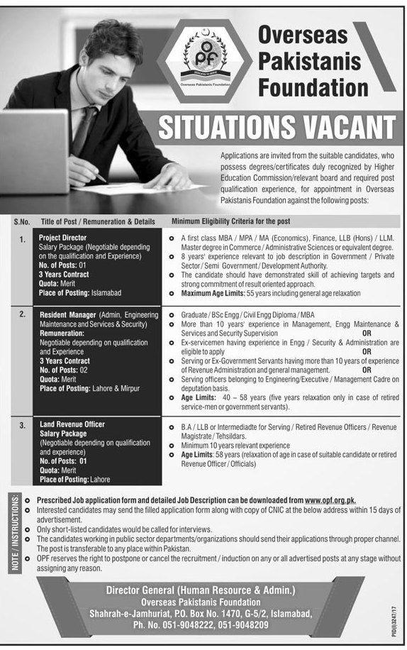 Overseas Pakistani Foundation OPF Jobs 2017 In Islamabad For   Logistics  Officer Job Description