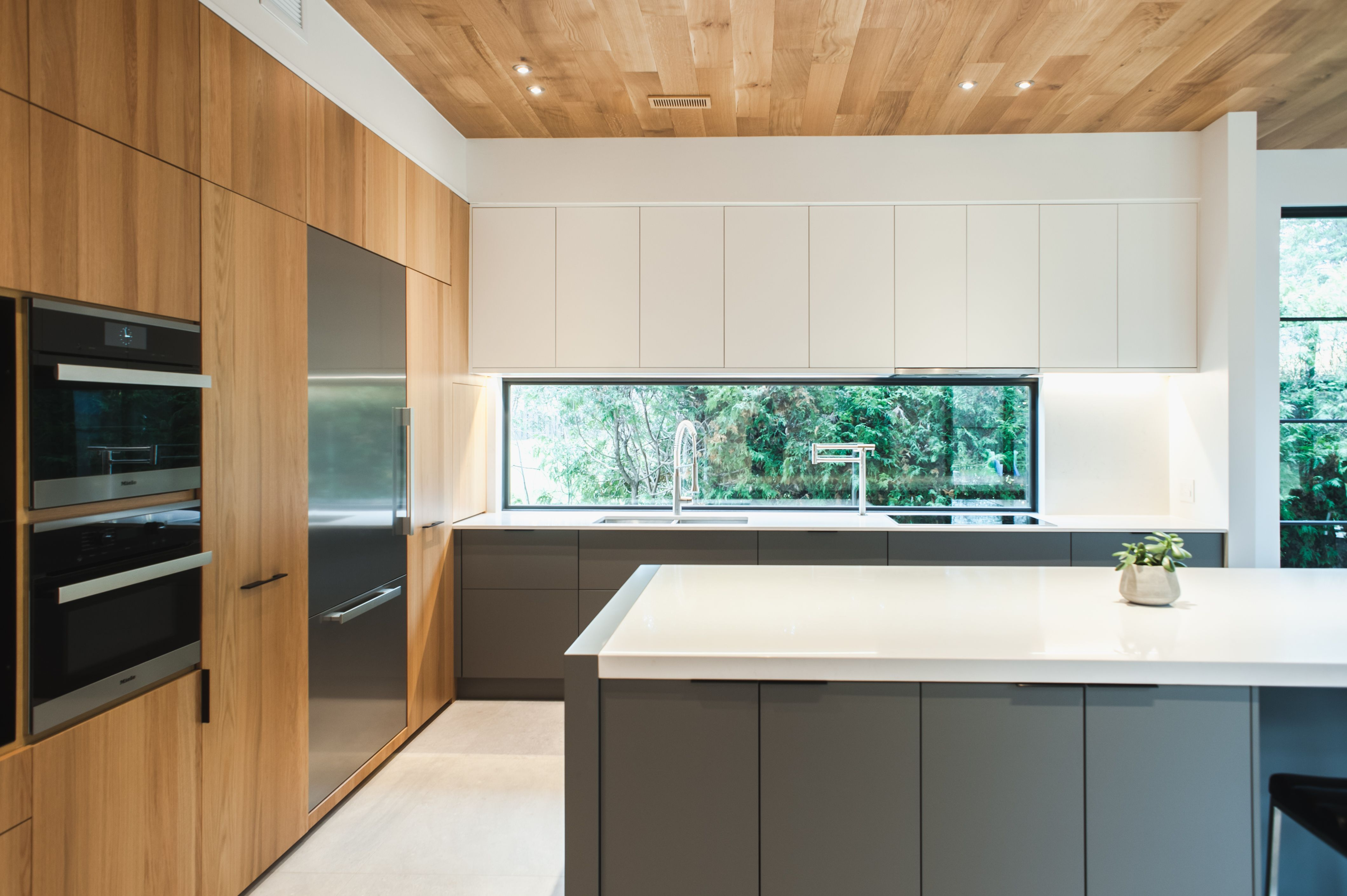 modern beauty beautiful warm natural wood wall with dark grey grounding bases and light on kitchen interior grey wood id=25626