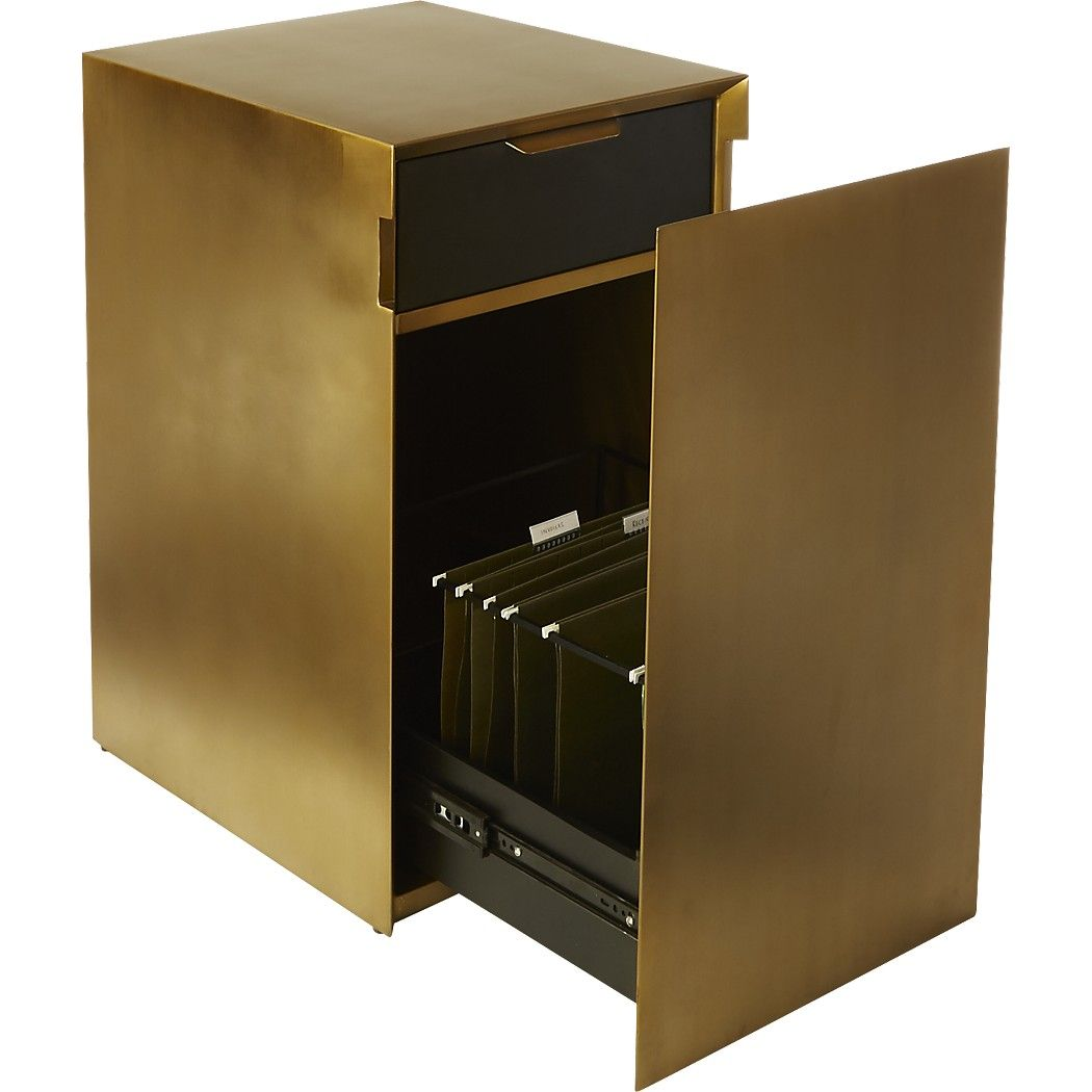 Shop gold file cabinet gold filing cabinet with a hidden agenda open its clean flat front door at the subtle side inset to reveal letter or legal hanging