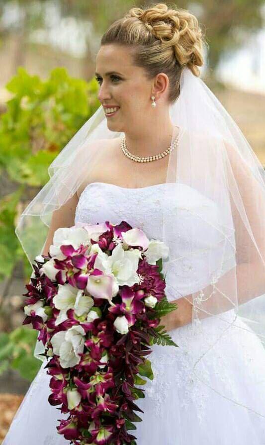 Wedding bouquet bridal bouquet cascading bouquet silk real wedding bouquet bridal bouquet cascading bouquet silk real touch flowers purple mightylinksfo