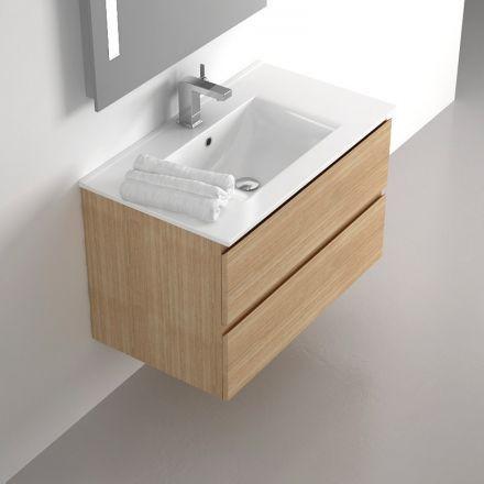 Meuble salle de bain 80 cm Chêne, 2 tiroirs, plan céramique, Cardo