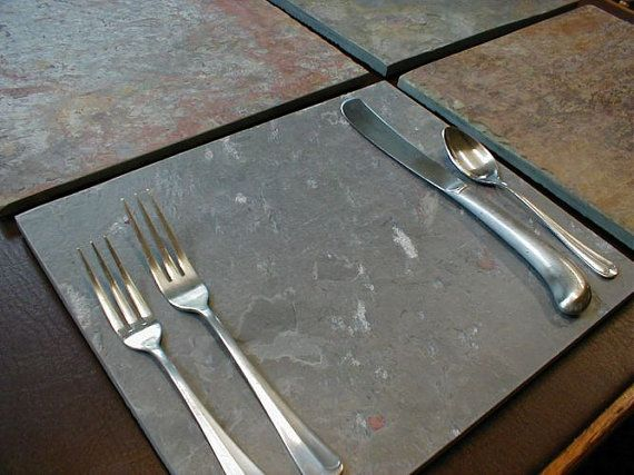 Natural Stone PLACEMATS & COASTERS Slate by BlythHouseCreations, $85.00