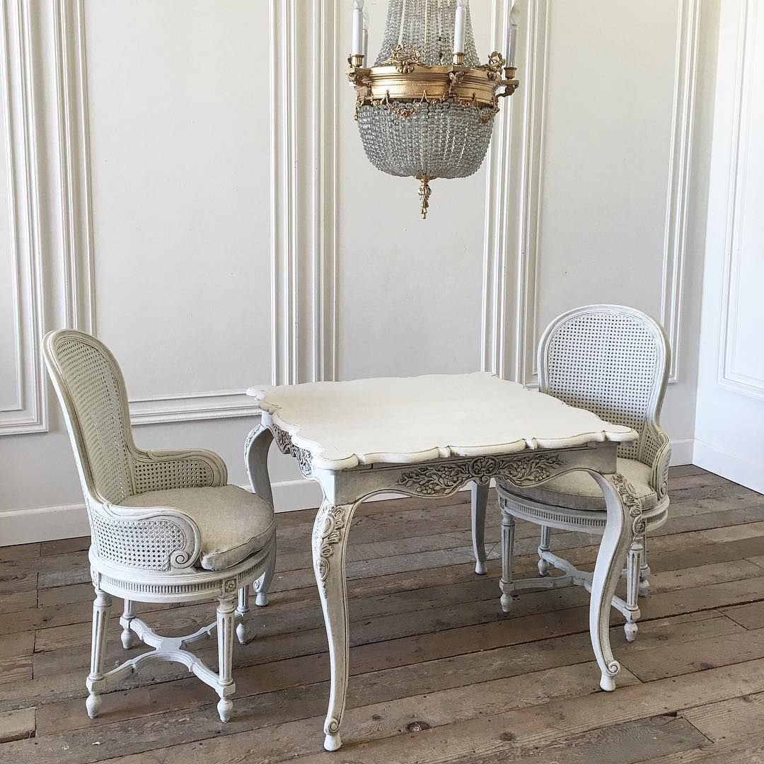 Table for 2, cozy table and pair of french cane chairs for