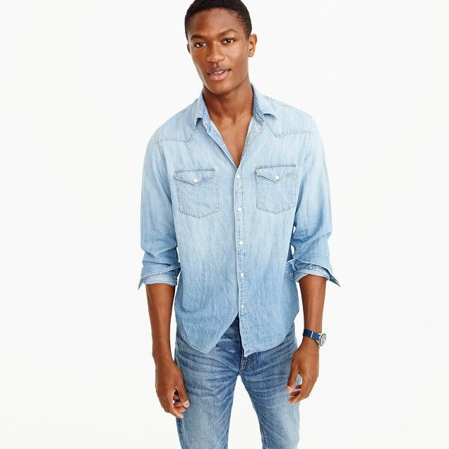 f892b96907 Slim lightweight denim Western shirt